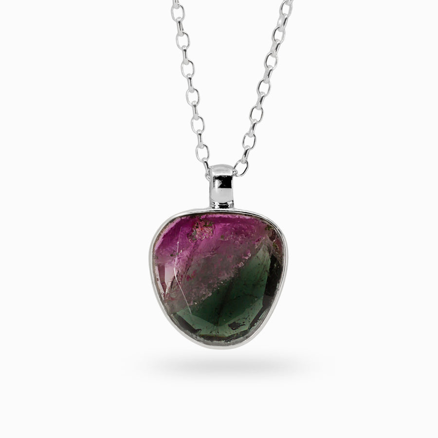 Faceted Watermelon Tourmaline Pendant