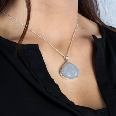 Agate Druzy pendant on model