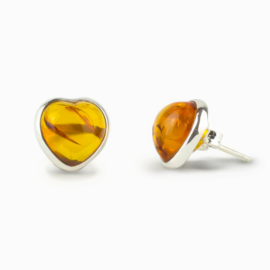 Amber Heart Stud Earrings
