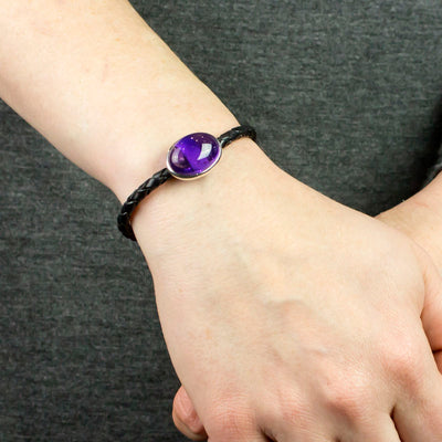 Amethyst Braided Leather Bracelet on Model