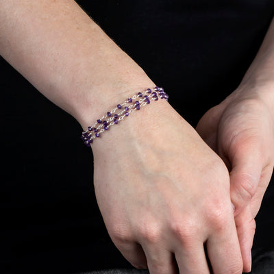Amethyst beaded chain bracelet