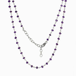 Amethyst beaded chain necklace