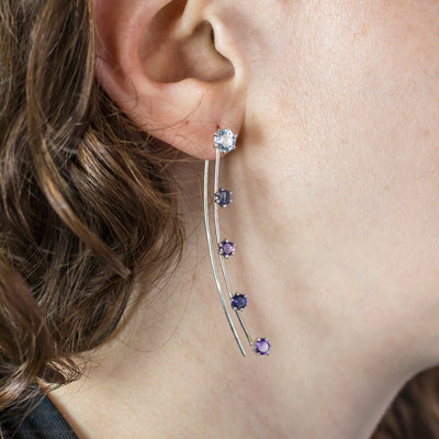 Amethyst, Blue Topaz and Iolite Earrings