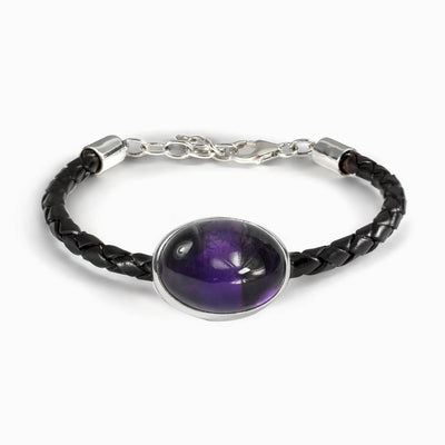 Amethyst Braided Leather Bracelet