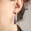 Chevron Amethyst Earrings on Model
