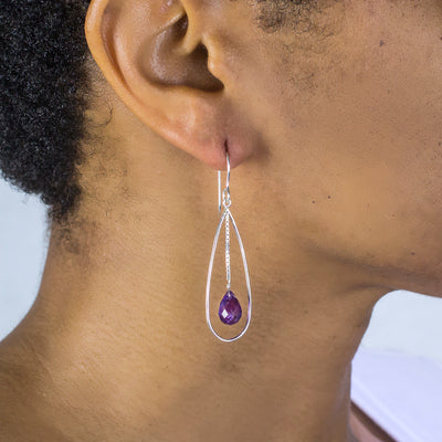 Amethyst Earrings on Model