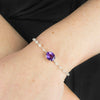 Amethyst and Rainbow Moonstone Bracelet on Model