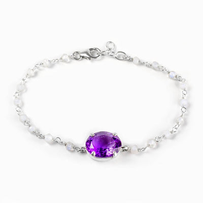 Amethyst and Rainbow Moonstone Bracelet