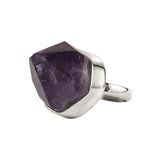 Amethyst Point With Black Snowballs Ring