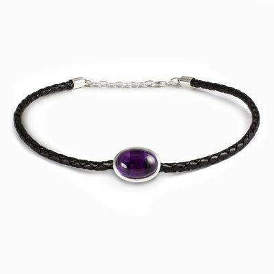 Amethyst Leather Necklace