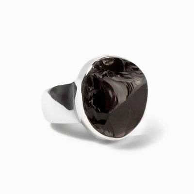 Apache Tear Obsidian Ring