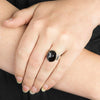 Apache Tear Obsidian Ring on Model
