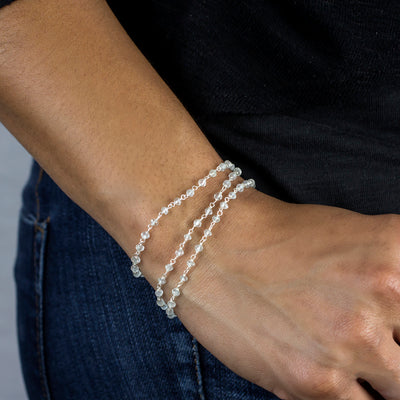 Aquamarine beaded chain bracelet
