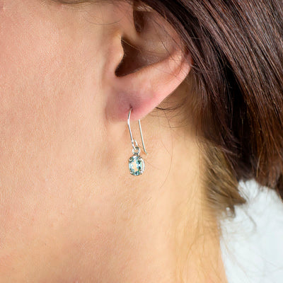 Aquamarine Earrings on model