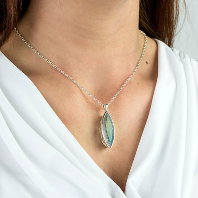 Aquamarine Pendant on model