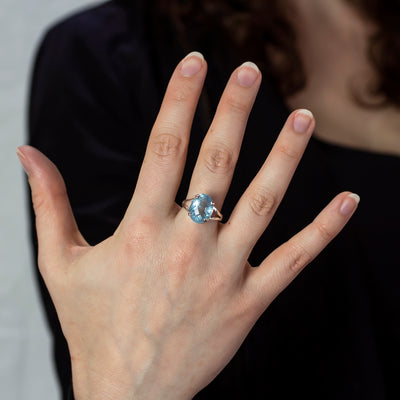 Aquamarine Sterling Silver ring on model