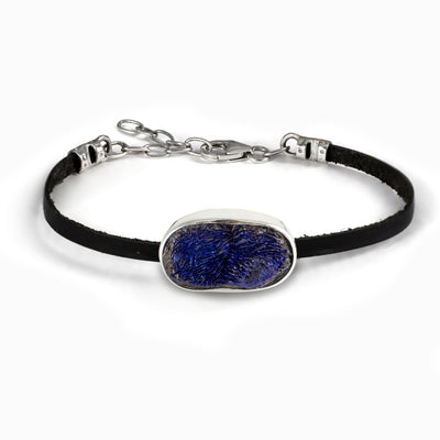 Azurite Flat Leather Bracelet