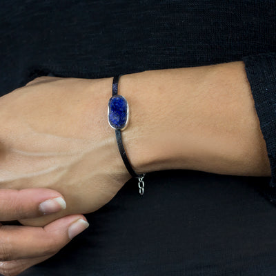 Azurite Flat Leather Bracelet on Model