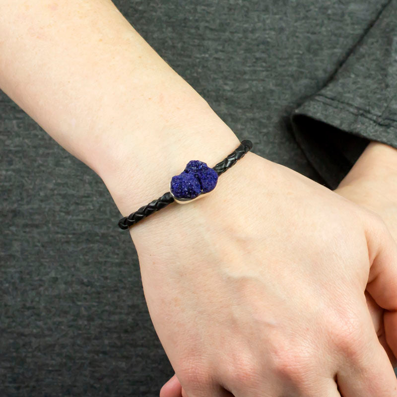 Azurite Braided Leather Bracelet