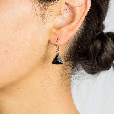 Black Tourmaline Earrings on Model