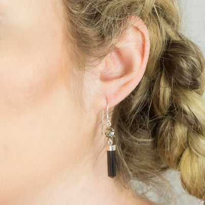 Black Tourmaline and Pyrite Earrings on Model