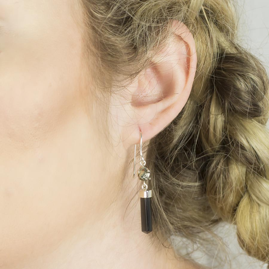 Black Tourmaline and Pyrite Earrings