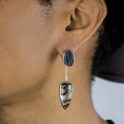 Black Tourmaline and Tourmalinated Quartz Stud Drop Earrings