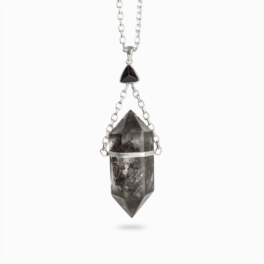 Enhydro Quartz and Black Tourmaline Necklace
