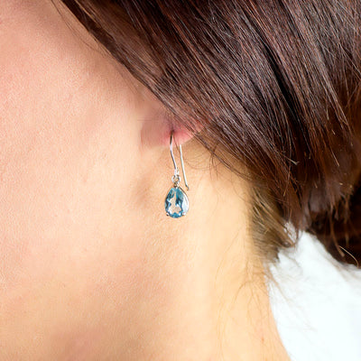 Blue Topaz Earrings on Model
