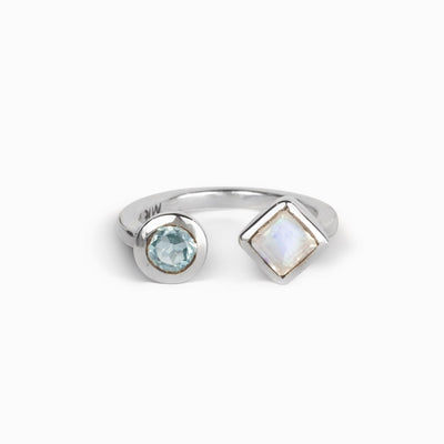 Blue Topaz and Rainbow Moonstone