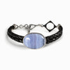 Blue Lace Agate Braided Leather Bracelet