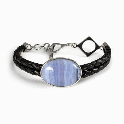 Blue Lace Agate leather bracelet