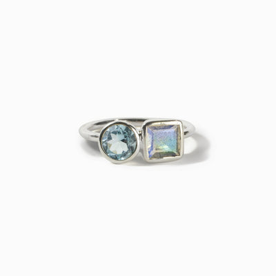 Blue Topaz & Labradorite Ring