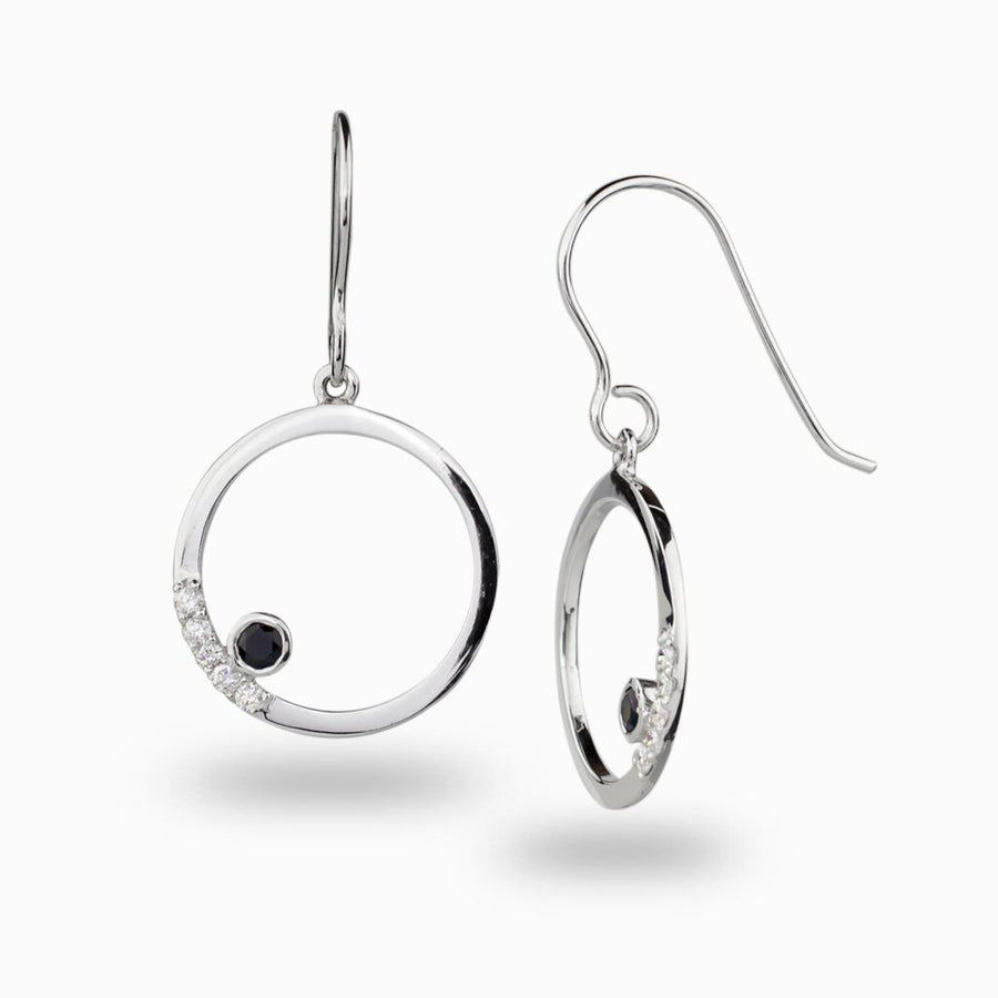 Cercle: Black Spinel & Diamond Earrings