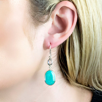 Campo Frio Turquoise and Rainbow Moonstone Earrings on Model
