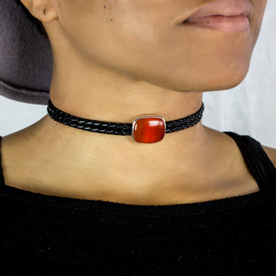 Carnelian Braided Leather Choker Necklace on model