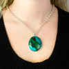 Chrysocolla Malachite Pendant on Model