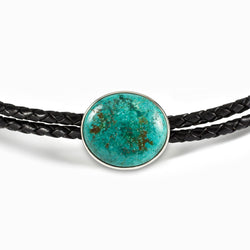 Chrysocolla leather Necklace