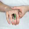 Chrysoprase in Matrix ring