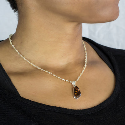 Citrine beaded chain necklace with pendant on model