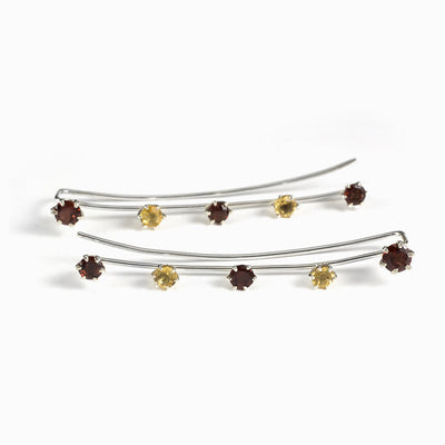 Garnet and Citrine Ear Climbers