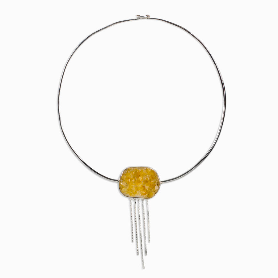 Citrine Druzy Choker Necklace
