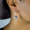 Clear Quartz with White Topaz earrings on model