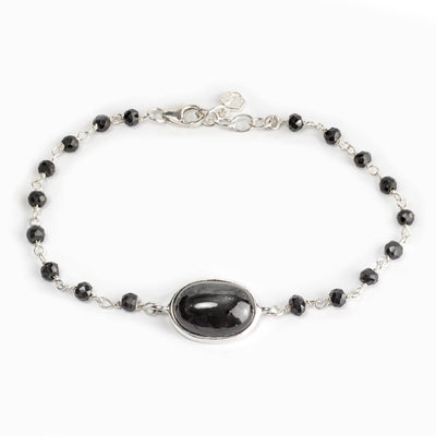 Black Star Diopside and Black Spinel Bracelet