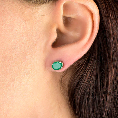 Emerald Earrings on Model
