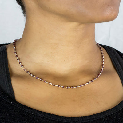 Garnet beaded chain necklace on Model