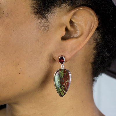 Garnet and Dragons Blood Jasper Earrings on Model