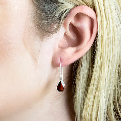 Garnet Drop Earrings on Model