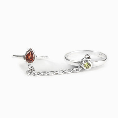 Garnet and Peridot Ring