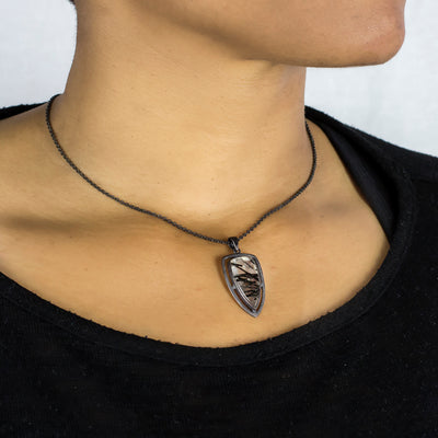 Halo Collection: Tourmalinated Quartz Pendant on Model